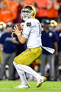 Blacksburg, VA - OCT 6, 2018: Notre Dame Fighting Irish quarterback Ian Book (12) drops back in the pocket during first half action of game between Notre Dame and Virginia Tech at Lane Stadium/Worsham Field Blacksburg, VA. (Photo by Phil Peters/Media Images International)