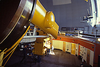 Interior of an observatory, with telescope, atop Mauna Kea
