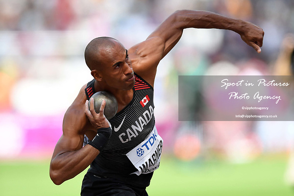 Damian WARNER (CAN) in the mens decathlon shot put. IAAF world athletics championships. London Olympic stadium. Queen Elizabeth Olympic park. Stratford. London. UK. 11/08/2017. ~ MANDATORY CREDIT Garry Bowden/SIPPA - NO UNAUTHORISED USE - +44 7837 394578