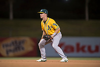 AZL Athletics second baseman Nick Ward (4) during an Arizona League game against the AZL Angels at Tempe Diablo Stadium on June 26, 2018 in Tempe, Arizona. The AZL Athletics defeated the AZL Angels 7-1. (Zachary Lucy/Four Seam Images)