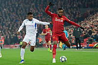 LIVERPOOL, GREAT BRITAN - NOVEMBER 5 :  Divock Origi forward of Liverpool battles for the ball with Carlos Cuesta defender of Genk during the UEFA Champions League match between Liverpool FC and KRC Genk on November 05, 2019 in Liverpool, Great Britan, 5/11/2019 <br /> Liverpool 5-11-2019 Anfield <br /> Liverpool - Genk <br /> Champions League 2019/2020<br /> Foto Photonews / Panoramic / Insidefoto <br /> Italy Only