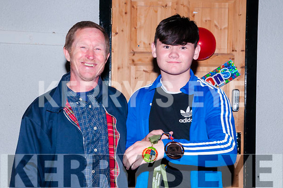 Trojan Boxing Club Celabration : Pictured at the Trojan Boxing Club, Listowel celebration night at the Irish American Bar, Ballybunion on Friday night last were Sean Walsh, Ballybunion who won a European Bronze Medal in Bucharest recently with his coach Graham Ball.
