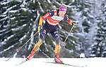 Germany's Denise Herrmann competes during the FIS Ski World Cup 1.3 Km Sprint Free Qualification, on February 2, 2014 in Dobbiaco, Toblach. <br /> <br /> &copy; Pierre Teyssot