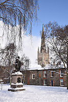 Snow, Cathedral Close, Norwich Feb 2018 UK