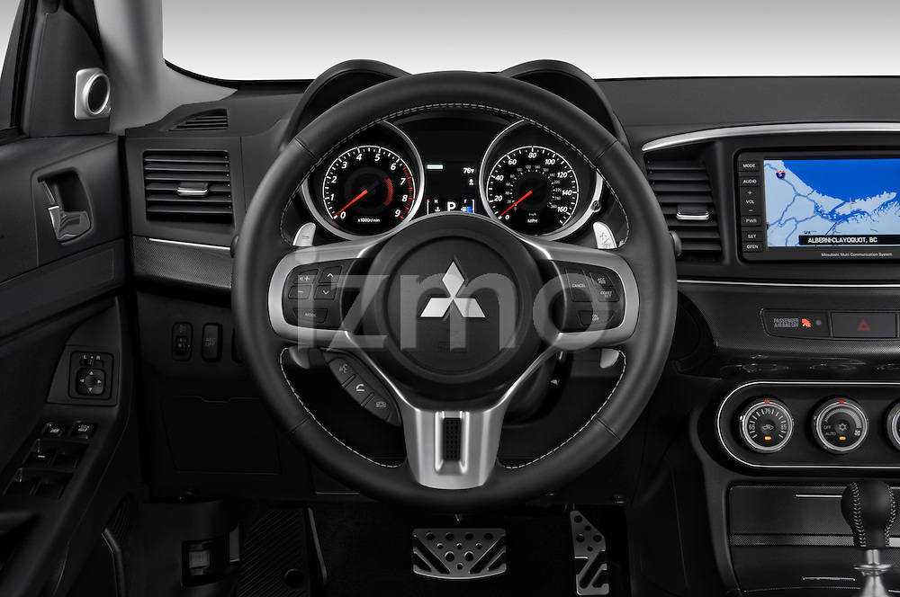 Steering wheel detail view of a 2010 Mitsubishi Lancer Sportback GTS