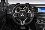 Steering wheel detail view of a 2010 Mitsubishi Lancer Sportback GTS
