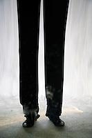 France. Alpes-Maritimes province. Antibes. Marineland. La petite ferme du Far West. Amusement park. Distorting mirror. Long legs. 03.11.06 © 2006 Didier Ruef .