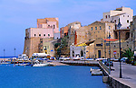 Buildings in the harbour at Castellammare del Golfo, Sicily, Italy