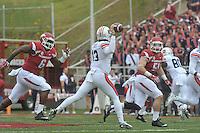 NWA Democrat-Gazette/MICHAEL WOODS • @NWAMICHAELW<br /> University of Arkansas defenders JaMichael Winston (6) and Brooks Ellis (51) put the pressure on Auburn quarterback Sean White during Saturdays game October, 24, 2015 against Auburn at Razorback Stadium in Fayetteville.
