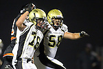 Beverly Hills, CA 09/23/11 - Justin Evans (Peninsula #76) and Joey Augello (Peninsula #58) in action during the Peninsula-Beverly Hills Varsity football game.