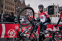 local hero Jens Keukeleire (BEL/Lotto-Soudal) at the race start in the Central Square in Bruges<br /> <br /> Driedaagse Brugge-De Panne 2018<br /> Bruges - De Panne (202km)