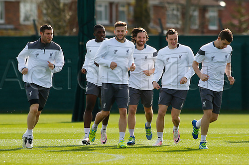 13.04.2016. Anfield, Liverpool, England. Europa League. Liverpool versus Borussia Dortmund Pre Match Press Conference and Training. Liverpool players training at Melwood ahead of tomorrow night's second of the Europa Cup quarter final v Borussia Dortmund.
