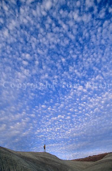 Altocumulus clouds over hiker, Little Painted Desert Park, north of Winslow, Arizona, AGPix_0565.