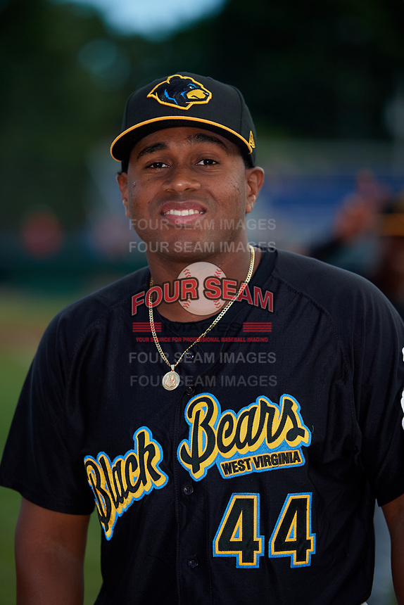 West Virginia Black Bears Felix Vinicio (44) poses for a photo before a game against the Batavia Muckdogs on June 19, 2018 at Dwyer Stadium in Batavia, New York.  West Virginia defeated Batavia 7-6.  (Mike Janes/Four Seam Images)