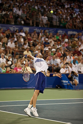 July 24, 2010:  ATP Atlanta Tennis Championship:  Mardy Fish serves to Andy Roddick in the semifinals match at the Atlanta Athletic Club in Johns Creek, GA on July 23, 2010.