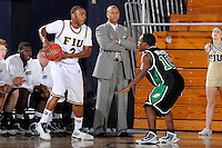 6 February 2010:  FIU's Stephon Weaver (2) handles the ball in the first half as the North Texas Mean Green defeated the FIU Golden Panthers, 68-66, at the U.S. Century Bank Arena in Miami, Florida.