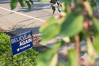 """Campaign signs for Louisana governor and Republican presidential candidate Bobby Jindal stand outside the Governor's Inn and Restaurant in Rochester, New Hampshire. The event was called """"Believe Again."""""""