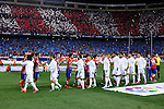 Atletico de Madrid´s players greet Real Madrid´s team during 2015-16 La Liga match between Atletico de Madrid and Real Madrid at Vicente Calderon stadium in Madrid, Spain. October 04, 2015. (ALTERPHOTOS/Victor Blanco)