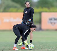 Houston, TX - Thursday Oct. 06, 2016: Sabrina D'Angelo, Katelyn Rowland during training prior to the National Women's Soccer League (NWSL) Championship match between the Washington Spirit and the Western New York Flash at BBVA Compass Stadium.