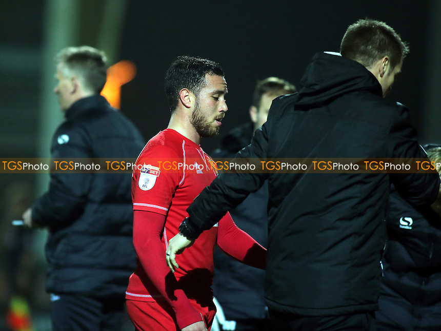 Samir Carruthers of MK Dons walks towards the dressing room after being sent off during Yeovil Town vs MK Dons, Checkatrade Trophy Football at Huish Park on 6th December 2016