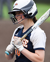 NWA Democrat-Gazette/CHARLIE KAIJO Rogers Heritage High School Paige Morrall (10) prepares to bat during the 6A State Softball Tournament, Thursday, May 9, 2019 at Tiger Athletic Complex at Bentonville High School in Bentonville. Rogers Heritage High School lost to Northside High School 8-6