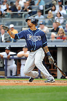 Tampa Bay Rays outfielder Desmond Jennings #8 hits a home run during a game against the New York Yankees at Yankee Stadium on September 21, 2011 in Bronx, NY.  Yankees defeated Rays 4-2.  Tomasso DeRosa/Four Seam Images