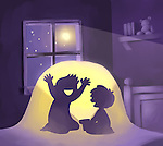 Illustrative image of boy scaring friend at night out representing adventure