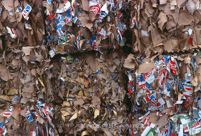 bales of recycled paper at recycling plant