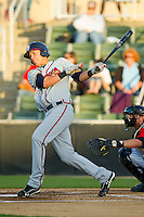 Joey Meneses (34) of the Rome Braves follows through on his swing against the Kannapolis Intimidators at CMC-Northeast Stadium on April 25, 2013 in Kannapolis, North Carolina.   (Brian Westerholt/Four Seam Images)