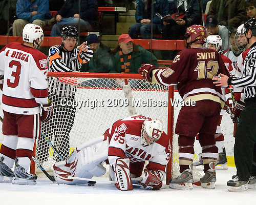 Alex Biega (Harvard - 3), Ryan Carroll (Harvard - 35), Ben Smith (BC - 12) - The Boston College Eagles defeated the Harvard University Crimson 3-2 on Wednesday, December 9, 2009, at Bright Hockey Center in Cambridge, Massachusetts.