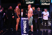 Jonathan Palata (L) and Ferenc Zsalek during a Weigh In at the BT Studios, Queen Elizabeth Olympic Park on 12th July 2019