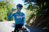 Mikel Nieve (ESP/SKY) having a break during the stage 17 TT recon ride<br /> <br /> restday 2 in Burgos<br /> 2015 Vuelta &agrave; Espagna