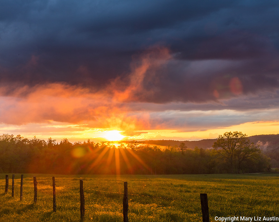Great Smoky Mountains National Park, TN/NC: Evening sunburst and clearing storm in Cades Cove, early spring