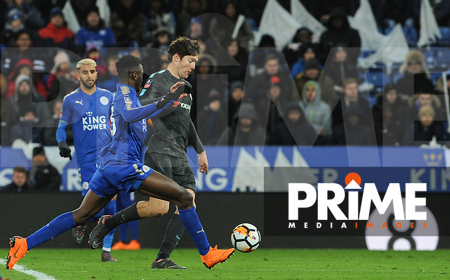 Marcos Alonso of Chelsea & Wilfred Ndidi of Leicester City  during the FA Cup QF match between Leicester City and Chelsea at the King Power Stadium, Leicester, England on 18 March 2018. Photo by Stephen Buckley / PRiME Media Images.