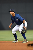 Second baseman Luis Carpio (18) of the Columbia Fireflies plays defense in a game against the Lakewood BlueClaws on Saturday, May 6, 2017, at Spirit Communications Park in Columbia, South Carolina. Lakewood won, 1-0 with a no-hitter. (Tom Priddy/Four Seam Images)
