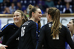 DURHAM, NC - NOVEMBER 24: Duke's Cadie Bates (16) celebrates a point with Anna Kropf (left), Payton Schwantz (11), and Nicole Elattrache (right). The Duke University Blue Devils hosted the University of North Carolina Tar Heels on November 24, 2017 at Cameron Indoor Stadium in Durham, NC in a Division I women's college volleyball match. Duke won 3-0 (25-21, 25-22, 25-20).