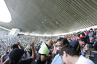 Water bottles, beer, and other objects are thrown at United States Men's National team fans by Mexican fans at Azteca stadium. The United States Men's National Team played Mexico in a CONCACAF World Cup Qualifier match at Azteca Stadium in, Mexico City, Mexico on Wednesday, August 12, 2009.