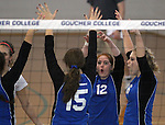 Marymount University celebrates a point during college volleyball action at Goucher College in Towson, MD, on Saturday, Oct. 8, 2011..Photo by Cathleen Aliison
