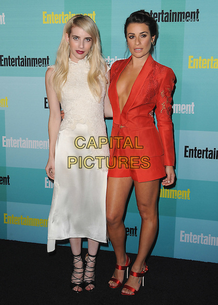 SAN DIEGO, CA - JULY 11:  Emma Roberts and Lea Michele at the 2015 Entertainment Comic-Con Celebration at Float at Hard Rock Hotel on July 11, 2015 in San Diego, California.
