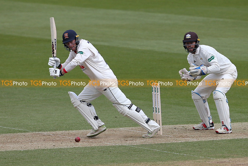 Tom Westley in batting action for Essex as Ben Foakes looks on from behind the stumps during Surrey CCC vs Essex CCC, Specsavers County Championship Division 1 Cricket at the Kia Oval on 12th April 2019