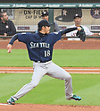 Hisashi Iwakuma (Mariners), Norichika Aoki (Astros),<br /> APRIL 4, 2017 - MLB :<br /> Norichika Aoki of the Houston Astros watches from the dugout as Seattle Mariners starting pitcher Hisashi Iwakuma pitches during the Major League Baseball game at Minute Maid Park in Houston, Texas, United States. (Photo by AFLO)