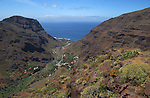 Villages and houses leading down to the sea. Valley San Rey. La Gomera, Canary Islands.