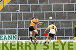 Eoin Brosnan Dr Crokes and Kieran Donaghy Stacks challenge foe the high ball during their County Championship clash in Fitzgerald Stadium on sunday