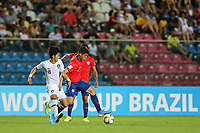 2nd November 2019; Kleber Andrade Stadium, Cariacica, Espirito Santo, Brazil; FIFA U-17 World Cup Brazil 2019, Chile versus Korea Republic; Cesar Diaz of Chile and Oh Jaehyeok of Korea Republic