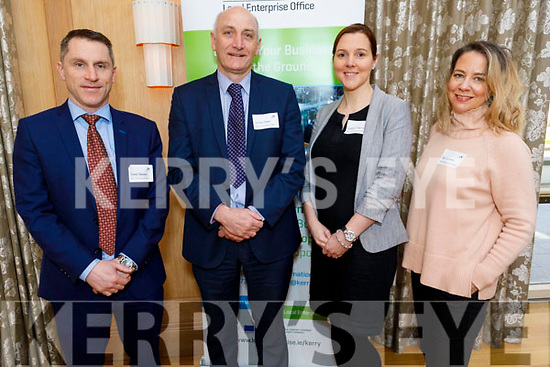 Conor Slattery, Tomas Hayes and Leeann Chapman from the Kerry Local Enterprise Office with Elin Sorensen from the Kerry Businesswomen's Network at the Start-up, Scale-up, Shape-up Local Enterprise Week event in the Ballygarry House Hotel on Tuesday.