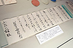 Photo shows a letter to the Koizumi family from a Japanese diplomat thanking them for sending copies of Lafcadio Hearn's book Glimpses of an Unfamiliar Japan at the Lafcadio Hearn museum in Matsue, Shimane Prefecture, Japan on 05 Nov. 2012. Photographer: Robert Gilhooly.