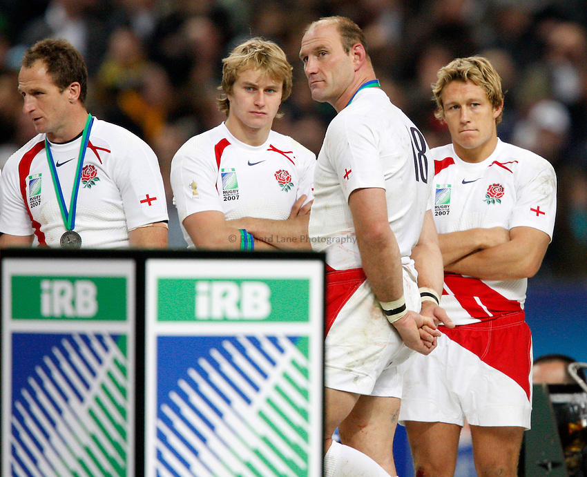 Photo: Richard Lane/Richard Lane Photography..England v South Africa. The Final of the IRB Rugby World Cup, RWC 2007. 20/10/2007. .England dejection (lt to rt) Mike Catt, Mathew Tait, Lawrence Dallaglio and Jonny Wilkinson.