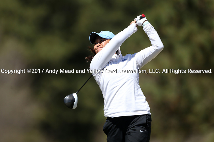 BROWNS SUMMIT, NC - APRIL 01: North Carolina's Bryana Nguyen tees off on the 1st hole. The second round of the Bryan National Collegiate Women's Golf Tournament was held on April 1, 2017, at the Bryan Park Champions Course in Browns Summit, NC.