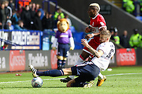Middlesbrough's Adama Traore is tackled by Bolton Wanderers' Mark Beevers<br /> <br /> Photographer Juel Miah/CameraSport<br /> <br /> The EFL Sky Bet Championship - Bolton Wanderers v Middlesbrough - Saturday 9th September 2017 - Macron Stadium - Bolton<br /> <br /> World Copyright &copy; 2017 CameraSport. All rights reserved. 43 Linden Ave. Countesthorpe. Leicester. England. LE8 5PG - Tel: +44 (0) 116 277 4147 - admin@camerasport.com - www.camerasport.com