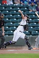 Winston-Salem Dash catcher Zack Collins (8) makes a throw to second base against the Buies Creek Astros at BB&T Ballpark on April 13, 2017 in Winston-Salem, North Carolina.  The Dash defeated the Astros 7-1.  (Brian Westerholt/Four Seam Images)
